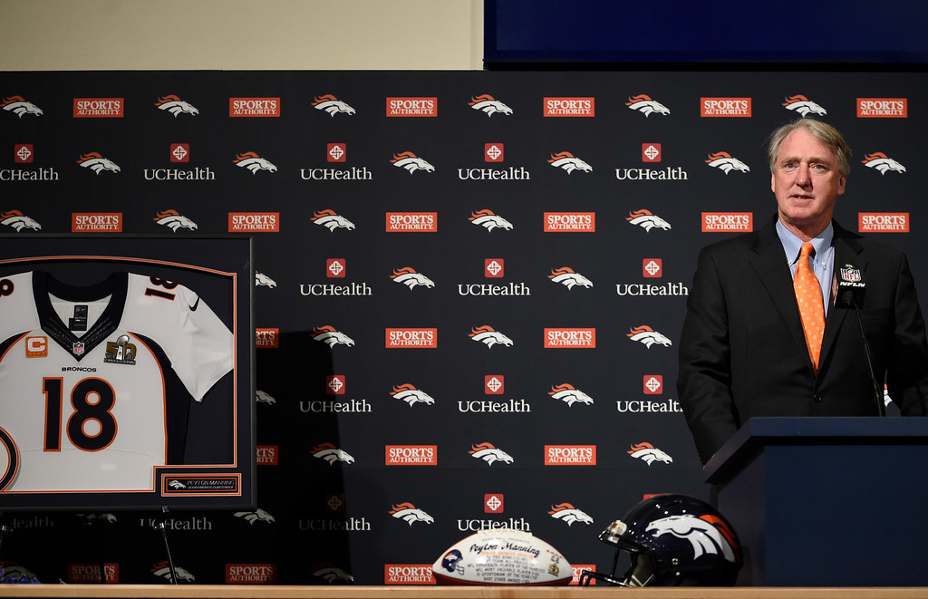 . ENGLEWOOD, CO - MARCH 07: President, Chairman and CEO Joe Ellis talks about Peyton\'s career with the team. The Denver Broncos hold a press conference to announce the retirement of Denver Broncos quarterback Peyton Manning March 7, 2016 at UCHealth Training Center. (Photo By John Leyba/The Denver Post)