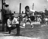 """Mary Boswell School field day, May, 1967.  The """"high"""" jump."""