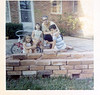 On the back patio in Dallas with Tina Gilchrist.  1967 or so.