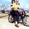 Dad's new Kawasaki motorcycle, Dallas, winter, 1967.