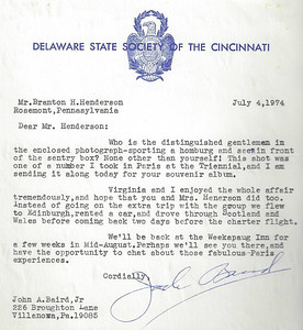 Letter to BHH from member of the Delaware Society of the Cincinnati.