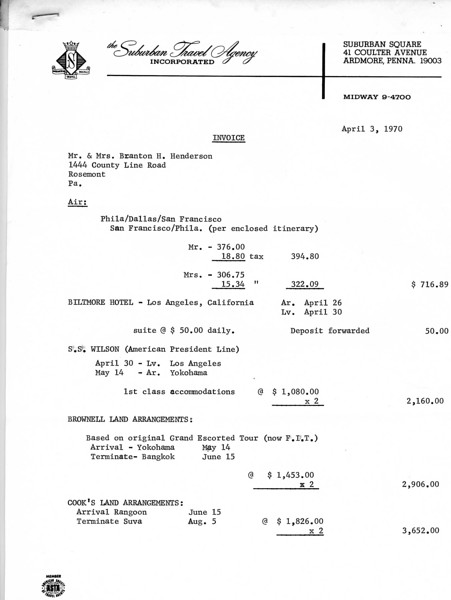 Invoice for the trip.  Page 1.