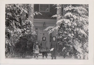 Hattie and Mary Riddle, with Isabel, on steps on the Riddles' rented house, Dec. 1944.