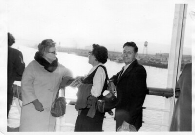 Nana at sailing time on the S. S. Lurline, Thursday, January 16, 1964 at 4:00 pm from Los Angeles.