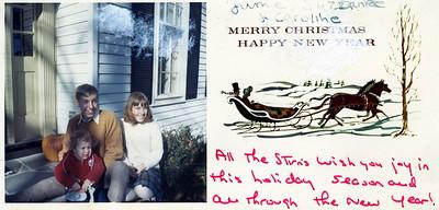 Jamie, Suzanne and Caroline Stirn; Christmas card, 1968.