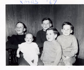 Donna and Larry Corcoran's children, Christmas 1969.
