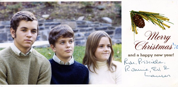 Ron, Everett and Lauren Henderson, Christmas card 1970.