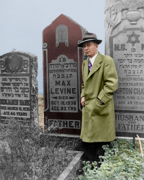 Grandfather Dave at the grave of his father, Max.  I guess that this was taken October 1939 at the unveiling.  Colorized black and white picture made by me around the year 2000.