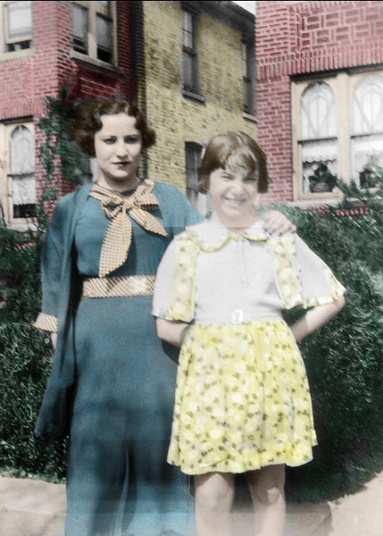Dorothy and Shirley in 1934, colorized picture