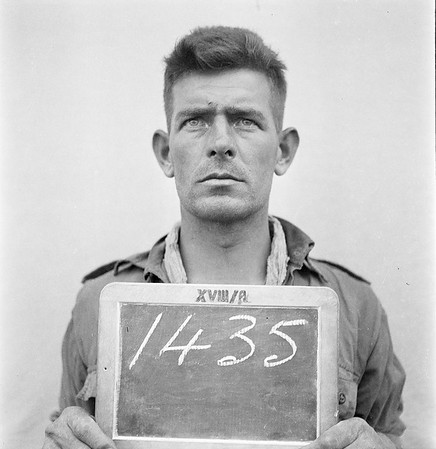 This photo was received from: Dr. Margit Berner Natural History Museum Burgring 7 1010 Vienna Austria/ Europe Tel. 0043 1 52177 241 margit.berner@nhm-wien.ac.at  It should be the prison intake photo of POW 1435 Albert Meacham. This is debate with the family as to weather this is or isn't Albert.