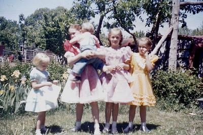 Toni Johnson, Leanna Baadsgaard holding Curtis Johnson, Evelyn and Margaret Baadsgaard (all cousins)