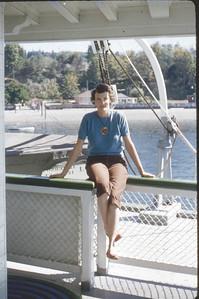Shirley Johnson on a ferry boat off the coast of Oregon or Washington
