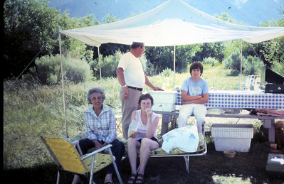 Grandma at camp site with friends