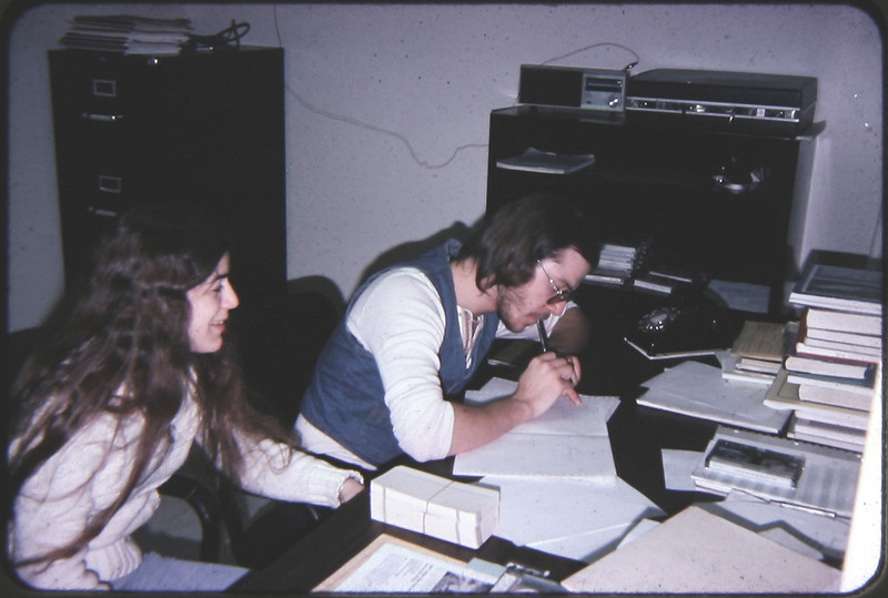 "Jeannie and I study in the Computer Graphics Lab office at Newark College of Engineering circa 1978.  I worked here all year long to pay tuition and related expenses associated with college.  The lab had an Imlac graphics computer with 8K of core memory and 8"" floppy disks.  It took over an hour to compile Fortran programs."