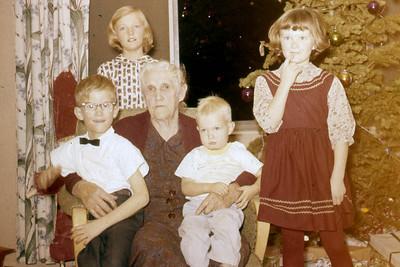 Toni Johnson, background, Curtis Johnson, Margaret Baadsgaard, Scott Johnson, Marna Johnson, 1950s