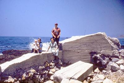 Toni Johnson (baby), at Cabrillo Beach in San Pedro Callif. 1950's Marna Berry (standing at back)
