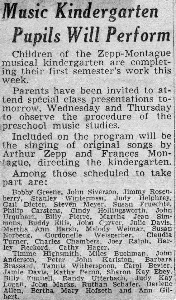 137 Music Kindergarten Will Perform
