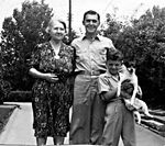 Miriam, Harry, Elmer, and Pepi (dog), 1944