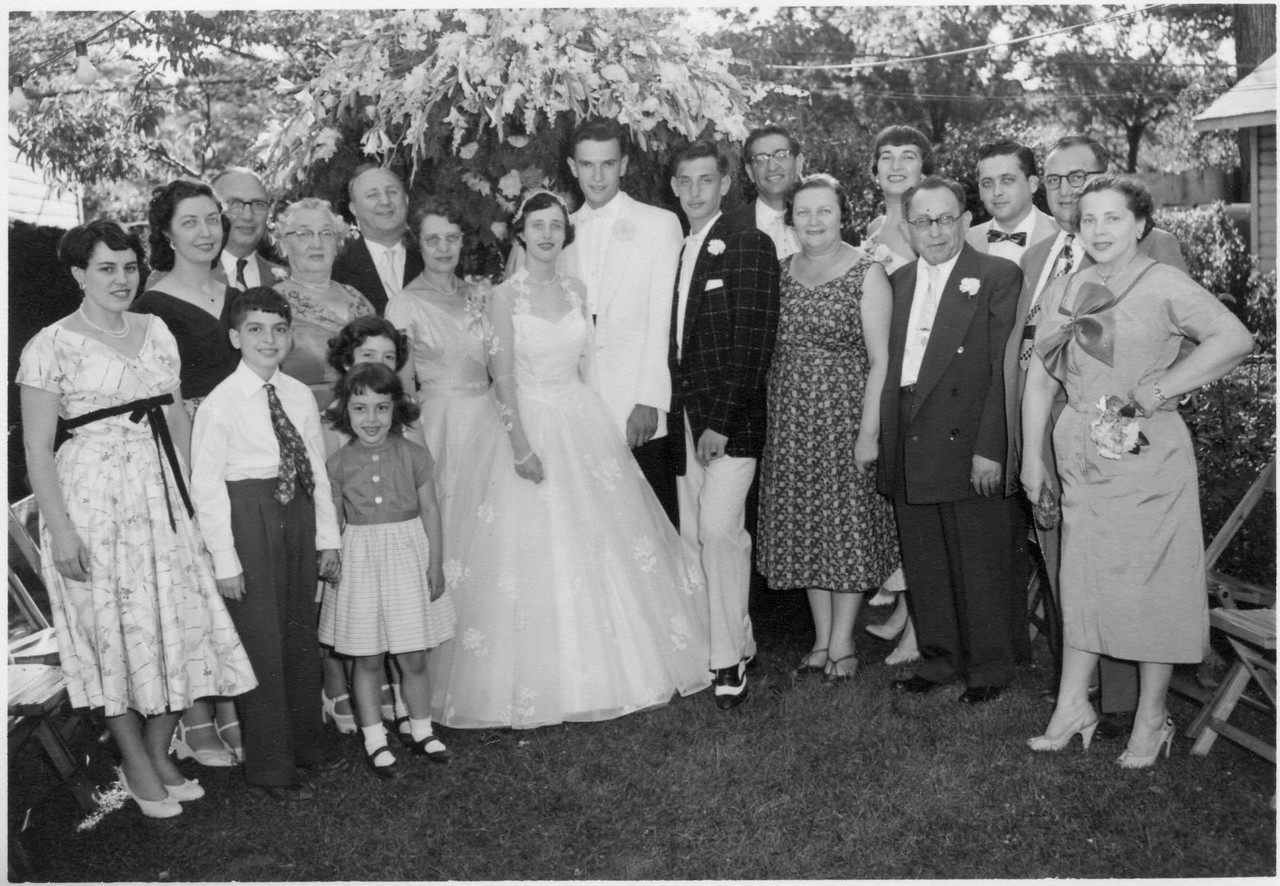 Vella and Herbie's Wedding, June 1956<br /> Alberta, Phyllis, Bill, Dave, Clara, Louise, Marcia, Al, Ann, Vella, Herbie, Ron, Bob, Goldie, Lorene, Max Brenner, ?, Louis, Helen