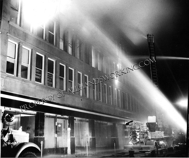 12/08/42 Bridgeport, CT - A two alarm fire ripped through the third and fourth floors of the Dewhisrt Building, located 183-191 Fairfield Avenue, in downtown Bridgeport.  The fire took almost three hours to bring under control.  This building would be the scene of more multiple alarm fires throughout the years.