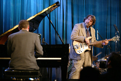 The Brubeck Brothers Quartet play jazz to a full crowd at the Sierra Nevada Brewery Big Room Thursday night. Seen here is Chuck Lamb (piano ) and Chris Brubeck (bass, trombone, piano), (left to right)- halley photo 4/13/06