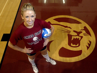 Chico State volleyball player Jamie Houle is ready for action with the wildcats. Sports feature. - halley photo 9/28/06