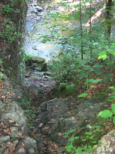 A much steeper and deeper climb than the photo would suggest; this crevasse is the best way to access the large pool below Big Falls.  Climbing down with fishing gear is a challenge.