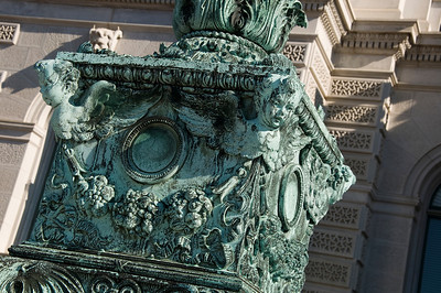 Oxidized copper statuary outside the Library of Congress