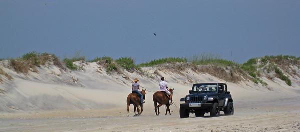 Horse power vs HORSE POWER on Oregon Inlet Beach, NC