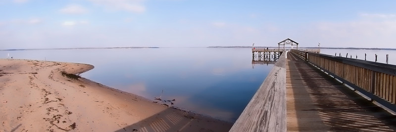 The fishing pier and beach overlooking the Potomac at Leesylvania State Park in VA