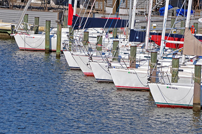 Sailboats tied up to the docks, waiting for spring