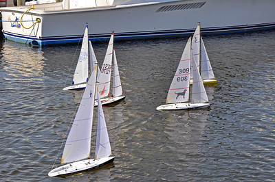 RC sailboats racing up and down Ego Alley