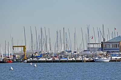 Sailboats waiting to fill the harbor come spring