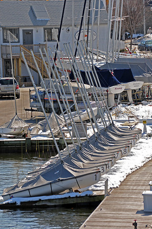 Sailboats lined up on the dry dock