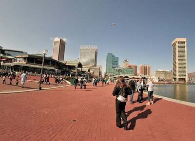 Folks were out enjoying the beautiful early spring afternoon at Inner Harbor