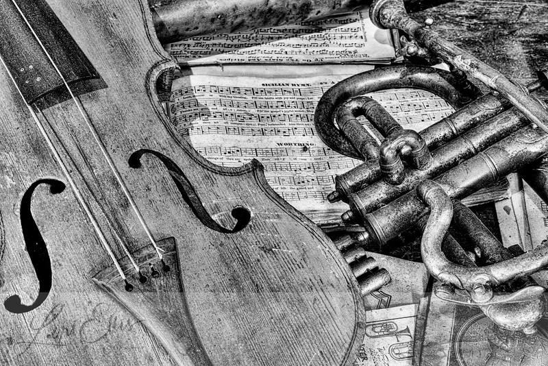 Antique Violin and Horn