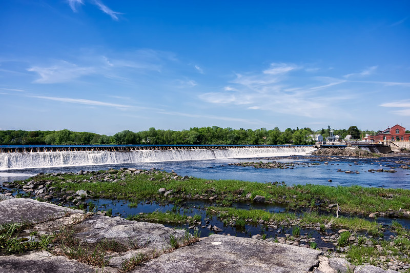 The Penobscot River cascading over the reservoir edge on Memorial Day 2016.