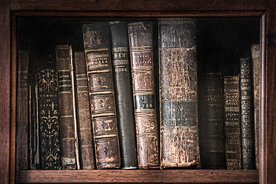 old books on the shelf
