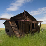 Leaning outbuilding.