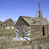 Weathered remains of an old homestead