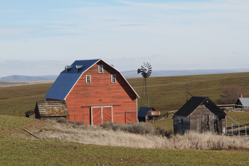Country barn and windmill in the spring.