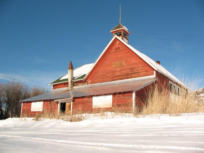 Beaver creek school house in winter.