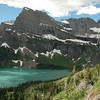 The way back still offered beautiful views. Again, Grinnell Lake with the glaciers above.
