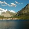Many Glacier Hotel and Swiftcurrent Lake.