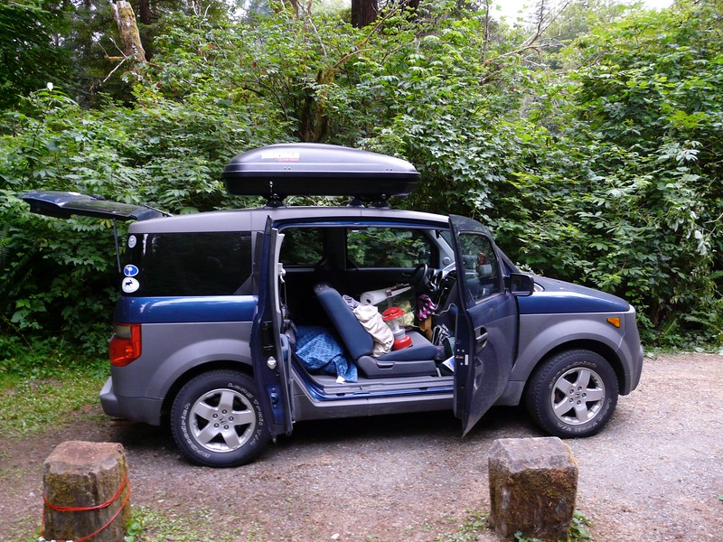 After visiting Greg and Ali in Davis, Calif., we headed up the California coast and slept a night in Redwood National and State Parks. The Element got its first new sticker of the trip.