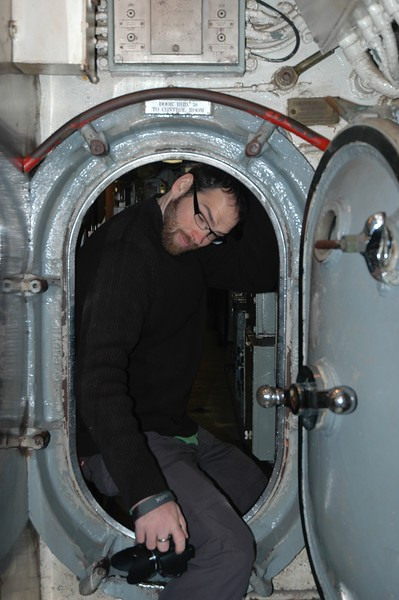 Mikey doesn't fit in a submarine as well as I do.
