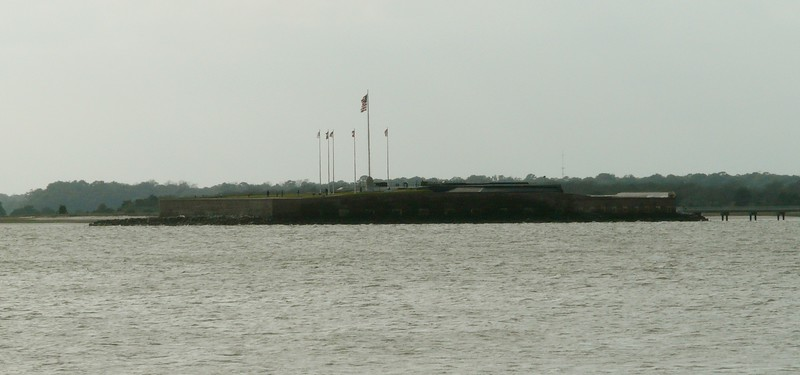 Fort Sumter seen from Fort Moultrie.