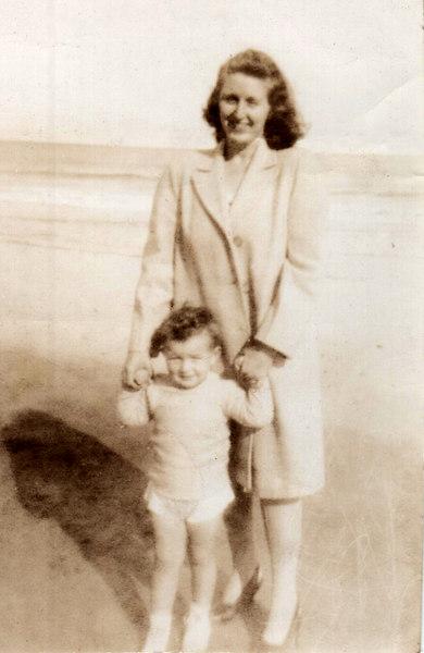 Doris Grady with Tommy, Hampton Beach NH 1947