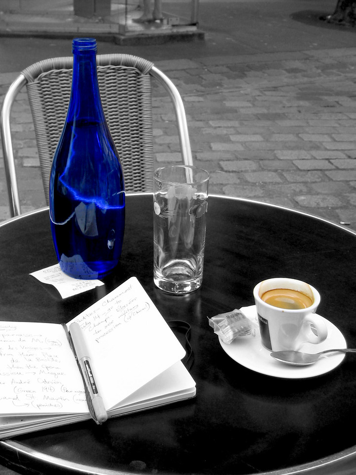 Espresso and blue bottle at an outdoor cafe in Montmartre (Paris)