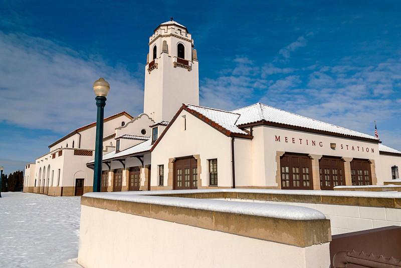 Winter city park with the Idaho train depot